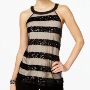 NWT INC Black Striped Sequined Sleeveless Top XL